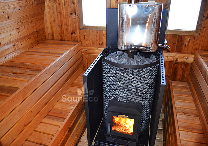 Outdoor Three Room Barrel Sauna Of Thermowood (↔5.65m) For 6 + Wood Fired  Heater