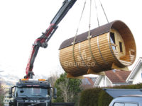 Barrel sauna transport Sauneco