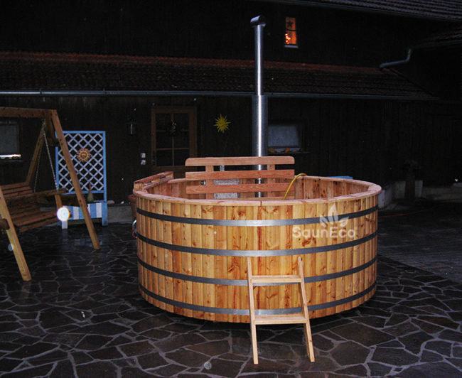 L Round Wooden Hot Tub Ø 2 4m For