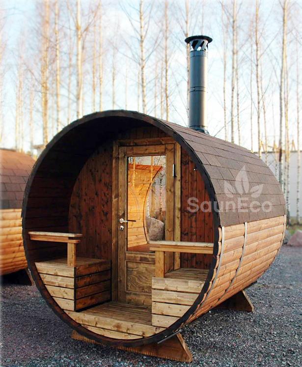 panorama sauna transparent glass wall terrace log. Black Bedroom Furniture Sets. Home Design Ideas