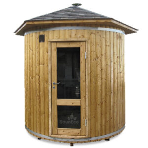 Spacious Upright Garden Sauna Lodge (↑2.8m) For 6 + Wood Burning Heater