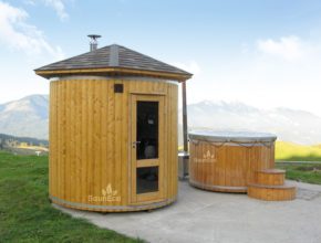 Wooden Barrel Sauna T24E from Sauneco