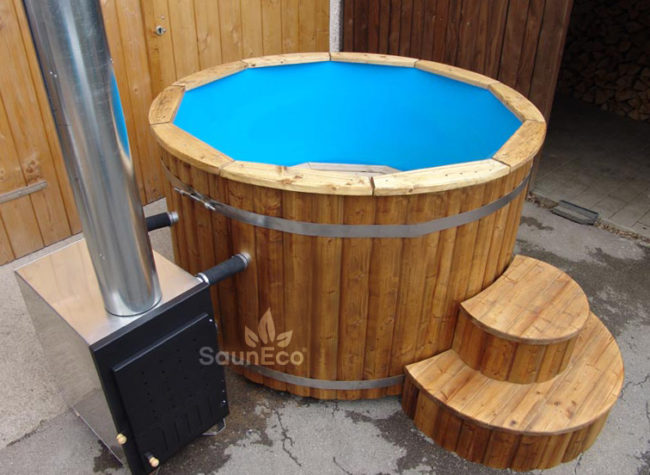 Wooden Hot Tub Steps   Wooden Spa Stairs   Rounded   Sturdy   Movable    SAFER   EASIER